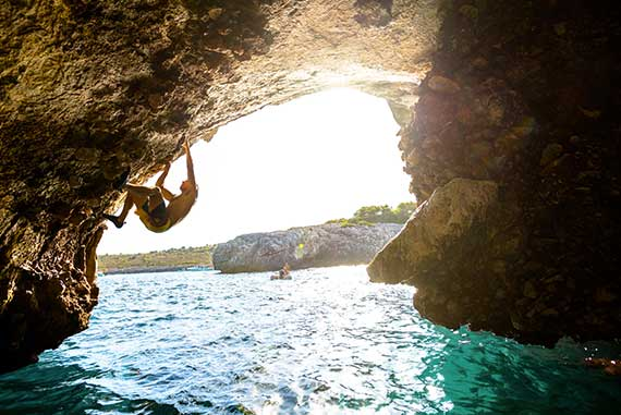 Majorca is the place where deep water solo was born. Limeston cliffs climbing